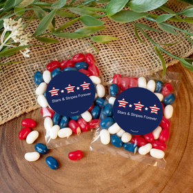 Personalized Patriotic Stars and Stripes Candy Bags with Jelly Belly Jelly Beans