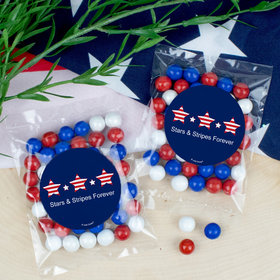 Personalized Patriotic Stars and Stripes Candy Bags with Sixlets