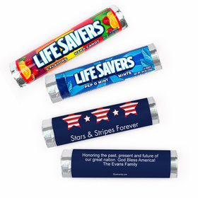 Personalized Stars and Stripes Independence Day Lifesavers Rolls (20 Rolls)