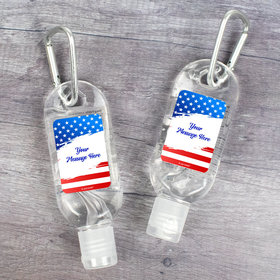 Personalized Patriotic Stars and Stripes Hand Sanitizer with Carabiner - 1 fl. Oz.