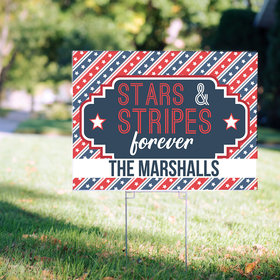 Personalized Patriotic Yard Sign - Stars and Stripes Forever