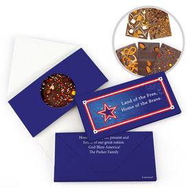 Personalized Patriotic Themed Star Gourmet Infused Belgian Chocolate Bars (3.5oz)