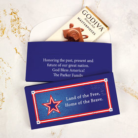 Personalized Patriotic Star Independence Day Godiva Chocolate Bar in Gift Box