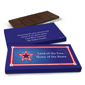 Deluxe Personalized Patriotic Star Chocolate Bar in Gift Box (3oz Bar)