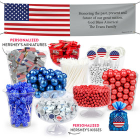 Personalized American Flag Patriotic Deluxe Candy Buffet
