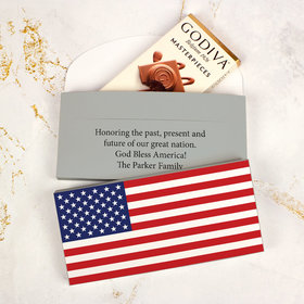 Personalized American Flag Independence Day Godiva Chocolate Bar in Gift Box