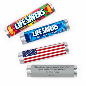 Personalized Patriotic American Flag Independence Day Lifesavers Rolls (20 Rolls)