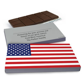 Deluxe Personalized American Flag Chocolate Bar in Gift Box (3oz Bar)