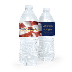Personalized Independence Day Patriotic Flag Water Bottle Labels (5 Labels)