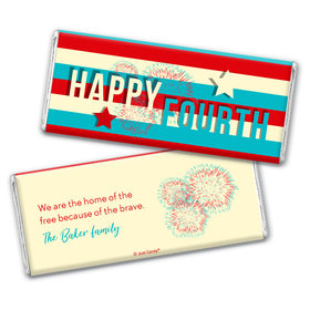 Personalized 4th of July Star Spangled Stripes Chocolate Bars