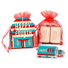 Personalized 4th of July Star Spangled Stripes Hershey's Miniatures in XS Organza Bags with Gift Tag