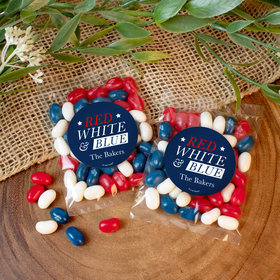 Personalized Patriotic Red White and Blue Candy Bags with Jelly Belly Jelly Beans