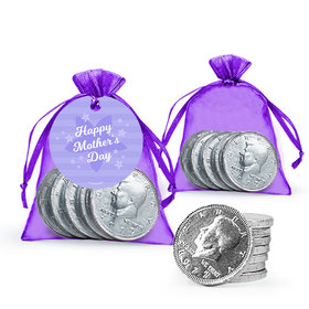 Purple Flowers Mother's Day Extra Small Organza Bag with Gift Tag