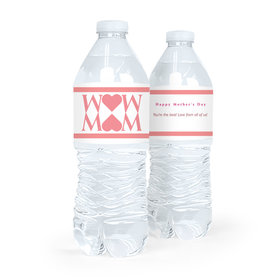 Personalized Mother's Day Heart Water Bottle Labels (5 Labels)
