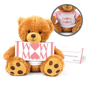 Personalized Mother's Day Heart Teddy Bear with Belgian Chocolate Bar in Deluxe Gift Box