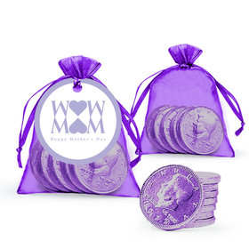 Mother's Day Heart Milk Chocolate Coins in Organza Bags with Gift Tag