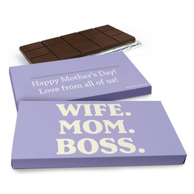 Deluxe Personalized Wife Mom Boss Mother's Day Chocolate Bar in Gift Box (3oz Bar)