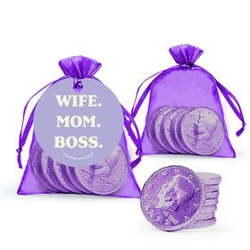 Mother's Day Wife Mom Boss Milk Chocolate Coins in Organza Bags with Gift Tag