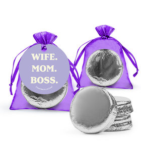 Mother's Day Wife Mom Boss Milk Chocolate Covered Oreo in Organza Bags with Gift Tag