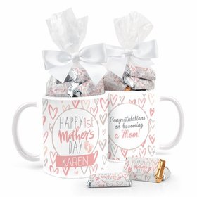 Personalized First Mother's Day 11oz Mug with approx. 24 Wrapped Hershey's Miniatures