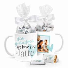 Personalized Mother's Day Coffee Mug with approx. 24 Wrapped Hershey's Miniatures - We Love You a Latte