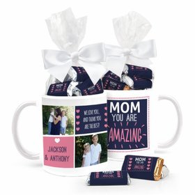 Personalized Mother's Day Coffee Mug with approx. 24 Wrapped Hershey's Miniatures - Amazing Mom