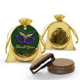 Mardi Gras Masquerade Chocolate Covered Oreo Cookies in Organza Bags with Gift tag