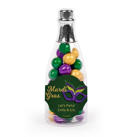 Personalized Mardi Gras Masquerade Champagne Bottle with Sixlets Candies