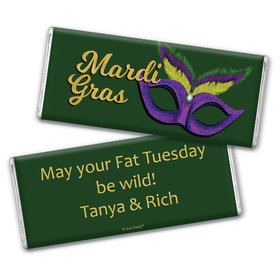 Personalized Chocolate Bar & Wrapper - Mardi Gras Masquerade