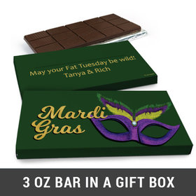 Deluxe Personalized Mardi Gras Masquerade Chocolate Bar in Gift Box (3oz Bar)