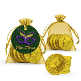 Mardi Gras Masquerade Chocolate Coins in XS Organza Bags with Gift Tag