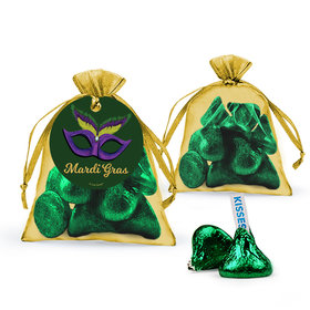 Mardi Gras Masquerade Hershey's Kisses in Organza Bags with Gift Tag