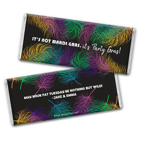 Personalized Mardi Gras Party Feathers Hershey's Chocolate Bar Wrappers