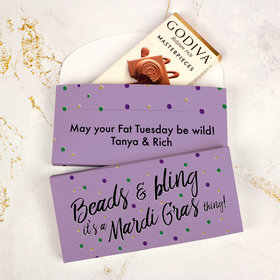 Deluxe Personalized Mardi Gras Beads & Bling Godiva Chocolate Bar in Gift Box