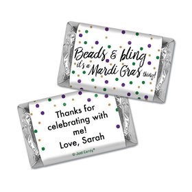 Personalized Hershey's Miniatures - Mardi Gras Beads & Bling
