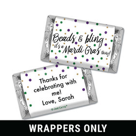 Personalized Mini Wrappers Only - Mardi Gras Beads & Bling