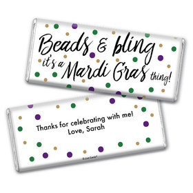 Personalized Chocolate Bar & Wrapper - Mardi Gras Beads & Bling