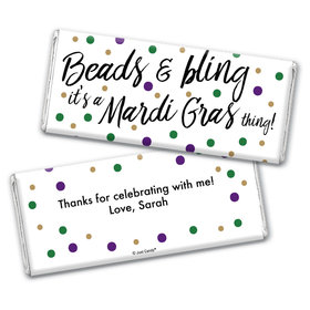 Personalized Chocolate Bar Wrappers Only - Mardi Gras Beads & Bling