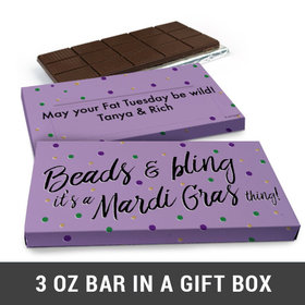 Deluxe Personalized Mardi Gras Beads & Bling Chocolate Bar in Gift Box (3oz Bar)