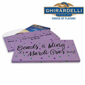 Deluxe Personalized Beads & Bling Mardi Gras Chocolate Bar in Gift Box