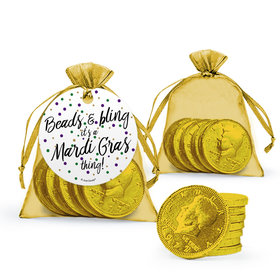 Mardi Gras Beads & Bling Chocolate Coins in XS Organza Bags with Gift Tag