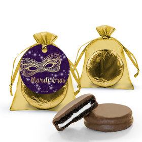 Mardi Gras Golden Elegance Chocolate Covered Oreo Cookies in Organza Bags with Gift tag