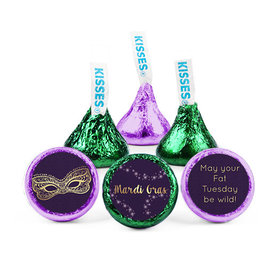 Personalized Hershey's Kisses - Mardi Gras Golden Elegance (50 Pack)