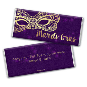 Personalized Chocolate Bar & Wrapper - Mardi Gras Golden Elegance