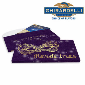 Deluxe Personalized Golden Elegance Mardi Gras Chocolate Bar in Gift Box