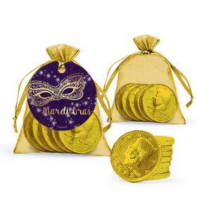 Mardi Gras Golden Elegance Chocolate Coins in XS Organza Bags with Gift Tag