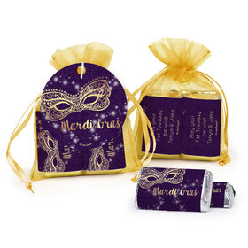 Personalized Mardi Gras Golden Elegance Hershey's Miniatures in Organza Bags with Gift Tag