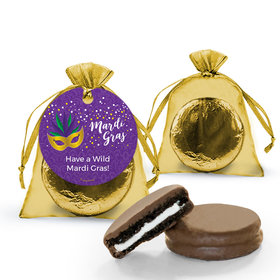 Personalized Mardi Gras Big Easy Chocolate Covered Oreo Cookies in Organza Bags with Gift tag
