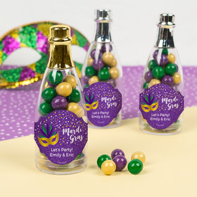 Personalized Mardi Gras Big Easy Champagne Bottle with Sixlets Candies