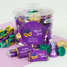 Personalized Mardi Gras Big Easy Container with Hershey's Mix